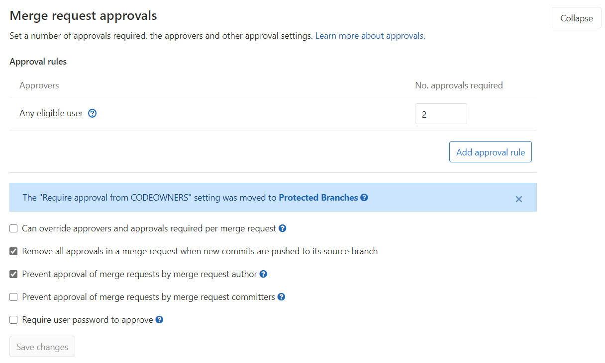 GitLab merge request approvals