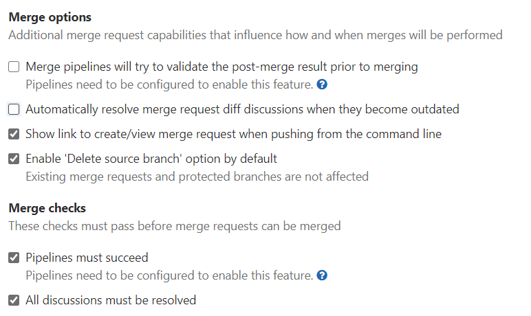 GitLab merge options and check